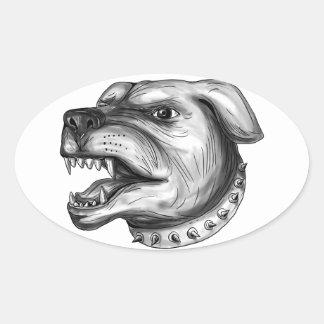 Pegatina Ovalada Tatuaje el gruñir de la cabeza de perro de