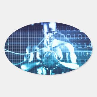 Pegatina Ovalada Tecnologías integradas en un concepto llano global