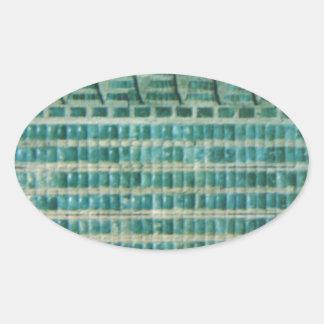 Pegatina Ovalada tejas azules del trullo