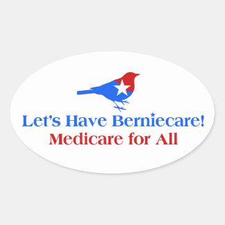 Pegatina Ovalada Tengamos Berniecare - Seguro de enfermedad para