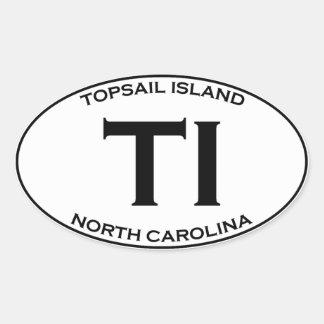 Pegatina Ovalada TI - isla Carolina del Norte de Topsail