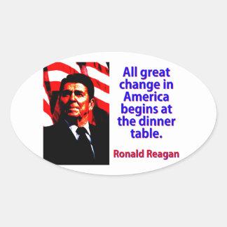 Pegatina Ovalada Todo el gran cambio en América - Ronald Reagan
