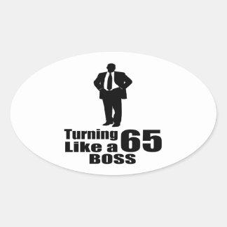 Pegatina Ovalada Torneado de 65 como Boss