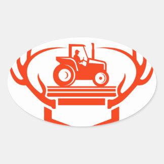 Pegatina Ovalada Tractor de la asta de los ciervos de la cola