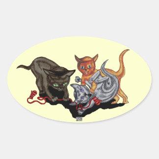 Pegatina Ovalada Tres pequeños gatitos