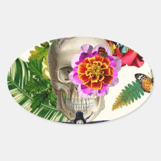 Pegatina Ovalada Tropical Skull