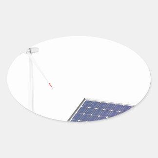 Pegatina Ovalada Turbina de viento y el panel solar