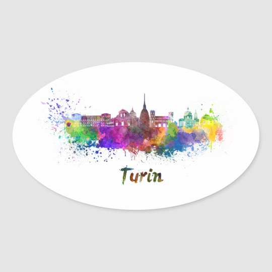 Pegatina Ovalada Turin skyline in watercolor