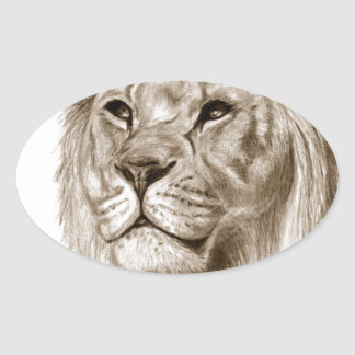 Pegatina Ovalada Un león - sin arte del bosquejo del dibujo del