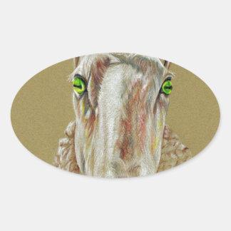 Pegatina Ovalada Un retrato de una oveja
