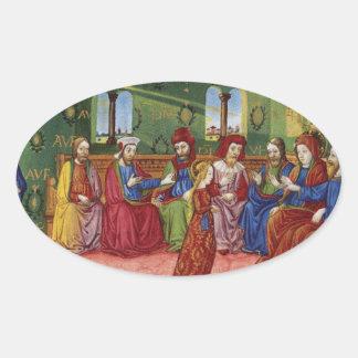 Pegatina Ovalada Una presentación del Virgen María c1476