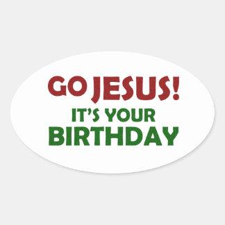Pegatina Ovalada ¡Va Jesús! Su su cumpleaños