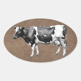 Pegatina Ovalada Vaca lechera
