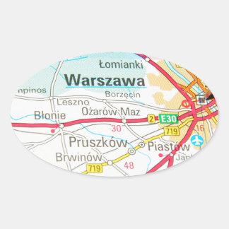 Pegatina Ovalada Varsovia, Varsovia en Polonia