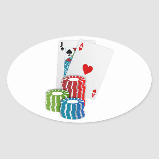 Pegatina Ovalada Veintiuna con las fichas de póker