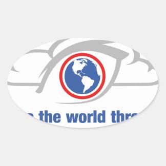 Pegatina Ovalada Veo el mundo a través de ojos sin restricción