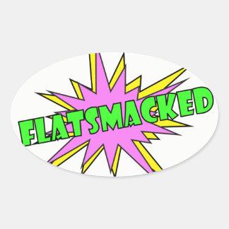 Pegatina Ovalada Verde oval de los pegatinas del #FLATSMACKED