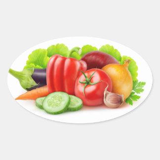 Pegatina Ovalada Verduras frescas