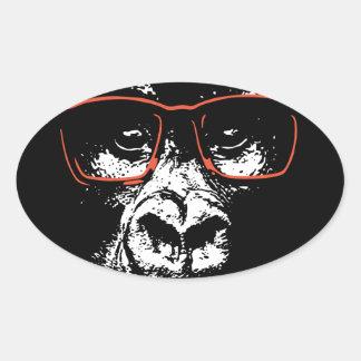 Pegatina Ovalada Vidrios del rojo del gorila