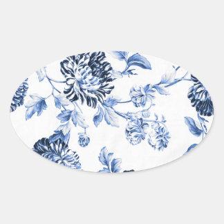 Pegatina Ovalada Vintage azul Toile floral No.5 del bígaro