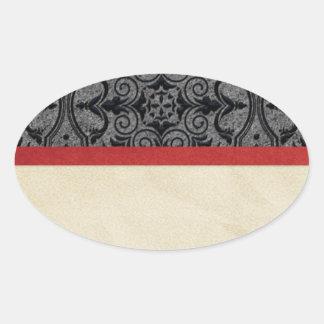 Pegatina Ovalada Vintage rojo y negro