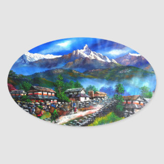 Pegatina Ovalada Vista panorámica de la montaña Nepal de Everest
