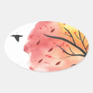 Pegatina Ovalada Vuelo del otoño