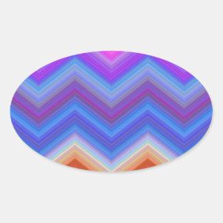 Pegatina Ovalada zigzag, colorido, divertido