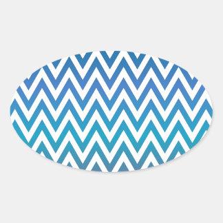 Pegatina Ovalada zigzag, colorido, divertido, azul y verde