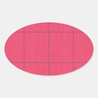 Pegatina Ovalada Zigzag rosado de los elementos del diseño