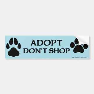 Pegatina Para Coche Adopt no hace compras con la impresión de la pata