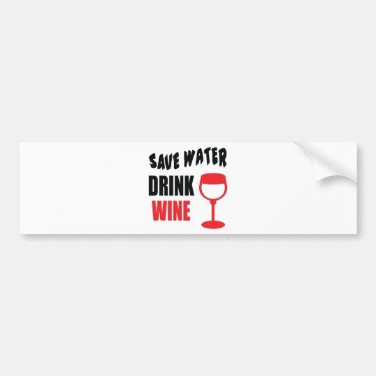 Pegatina Para Coche Ahorre el vino de la bebida del agua
