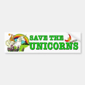 Pegatina Para Coche Ahorre los unicornios. Caballo mítico en peligro