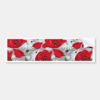 Pegatina Para Coche Amapola roja hermosa, margaritas blancas y