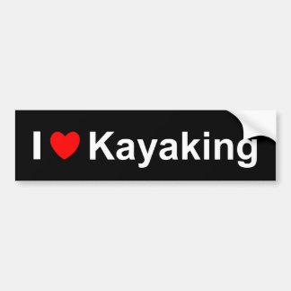 Pegatina Para Coche Amo el corazón Kayaking
