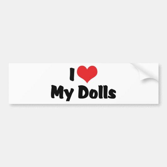 Pegatina Para Coche Amo el corazón mis muñecas - recogida de la muñeca