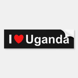Pegatina Para Coche Amo el corazón Uganda