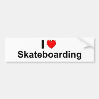 Pegatina Para Coche Amo el Skateboarding del corazón