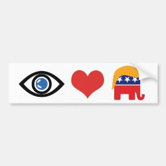 Pegatina Para Coche Amo el triunfo - logotipo del pelo del elefante