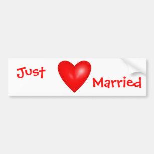 Pegatina Para Coche Apenas tarjeta del día de San Valentín casada