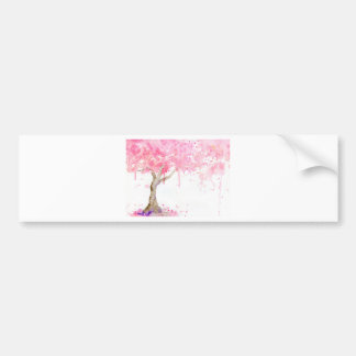 Pegatina Para Coche Árbol rosado abstracto de la acuarela, cerezo