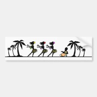 Pegatina Para Coche Bailarines tropicales de Hula de la isla
