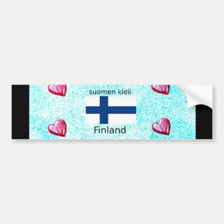 Pegatina Para Coche Bandera de Finlandia y diseño finlandés de la