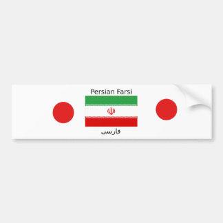 Pegatina Para Coche Bandera de Irán y diseño persa de la lengua del