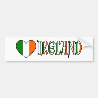 Pegatina Para Coche Bandera irlandesa y palabra Irlanda del corazón