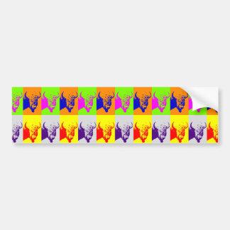Pegatina Para Coche Bisonte del búfalo del arte pop de 4 colores