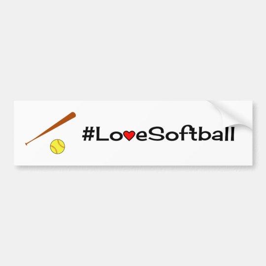 Pegatina Para Coche Blanco del lema del softball del amor
