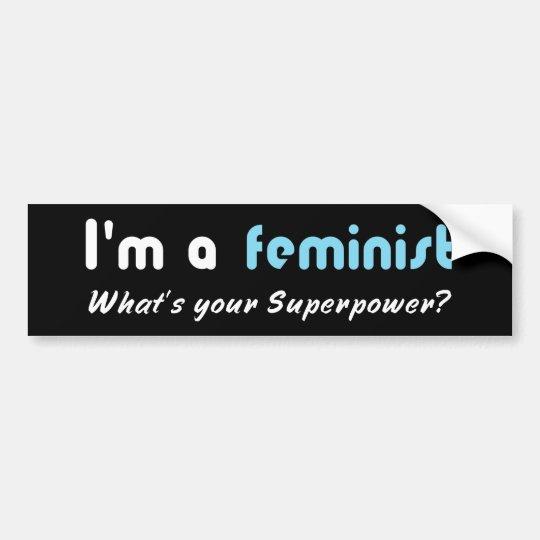 Pegatina Para Coche Blanco feminista del lema del superpoder en negro