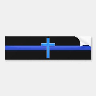 Pegatina Para Coche Blue Line y cruz finos
