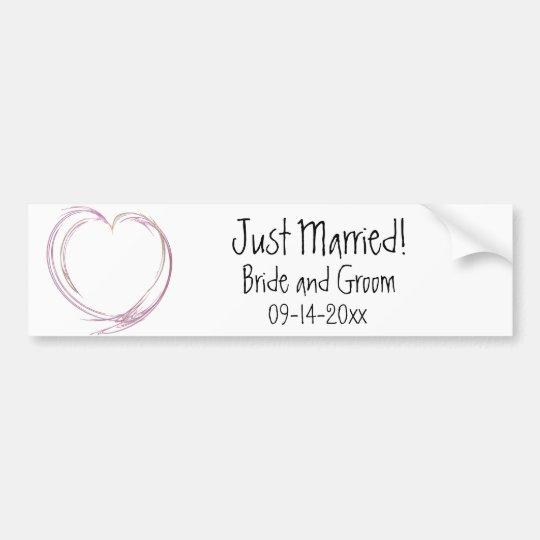 Pegatina Para Coche Boda casado abstracto rosado del corazón apenas